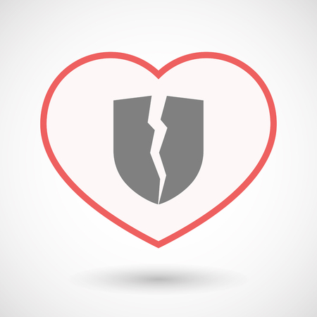 Illustration of an isolated line art heart with  a broken shield Illustration