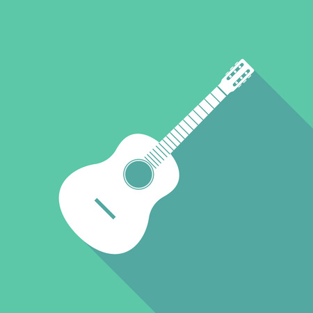 Long shadow illustration of  a six string acoustic guitar