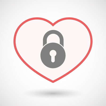 Illustration of an isolated line art heart with  a closed lock pad Illustration