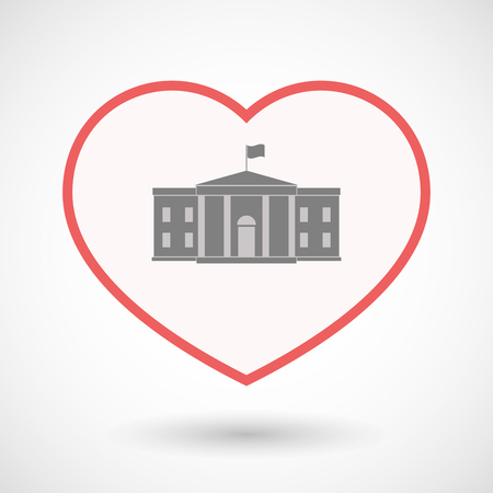 Illustration of an isolated line art heart with  the White House building
