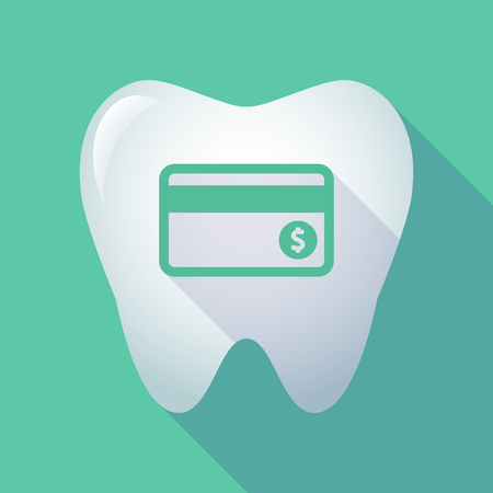 Illustration of a long shadow  tooth with  a credit card Иллюстрация