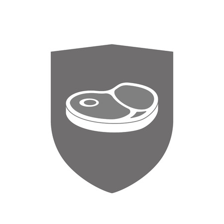 Illustration of an isolated  shield with  a steak icon