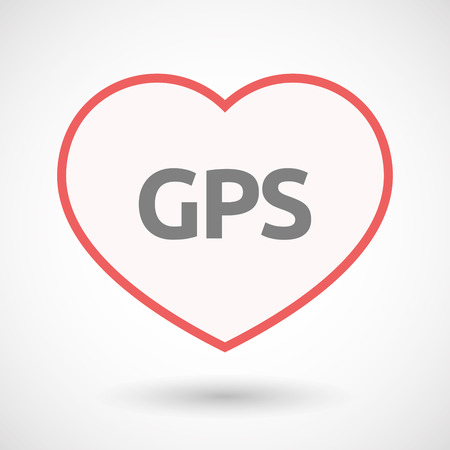 Illustration of an isolated line art heart with  the Global Positioning System acronym GPS
