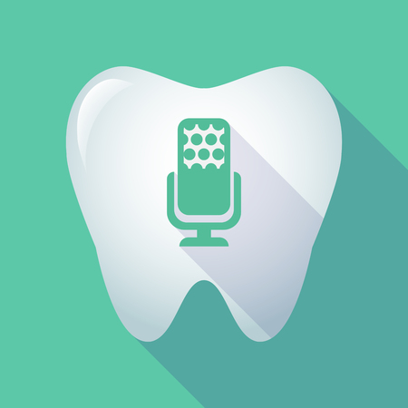 Illustration of a long shadow  tooth with  a microphone sign