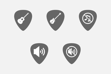 website buttons: Group of guitar plectrums with  sound and music related icons Illustration