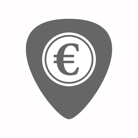 plectrum: Illustration of an isolated electric guitar plectrum with  an euro coin Illustration