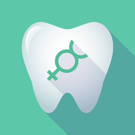 Illustration of a long shadow tooth with the mercury planet symbol