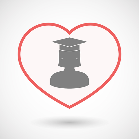 Illustration of an isolated line art heart with  a female graduated student