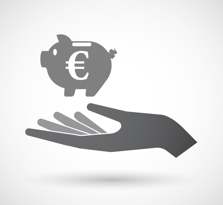 cash money: Illustration of an isolated hand giving  an euro coin in a piggy bank moneybox Illustration