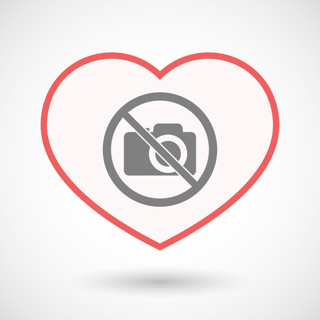 forbidden love: Illustration of an isolated line art heart with  a photo camera  in a not allowed signal Illustration