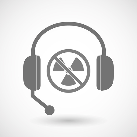atomic center: Illustration of an isolated hands free headphones with  a radioactivity sign  in a not allowed signal