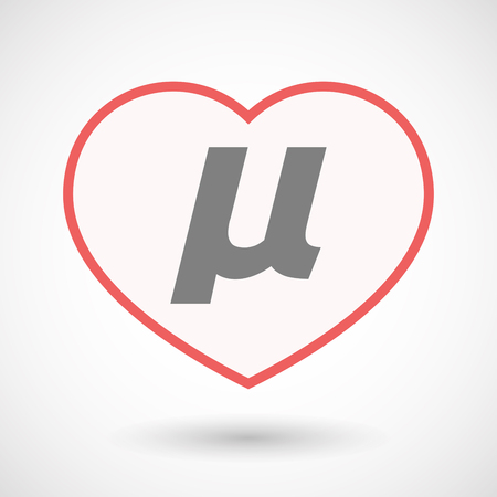 Illustration of an isolated line art heart with  a micro sign, mu greek letter