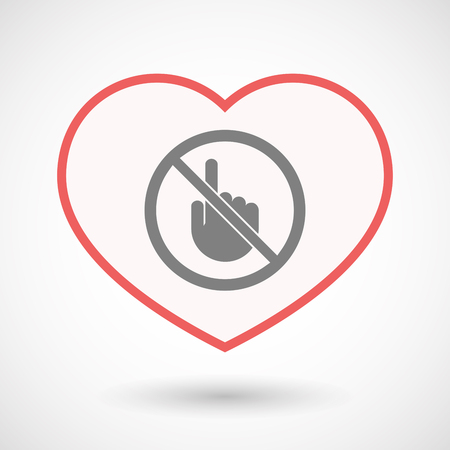 Illustration of an isolated line art heart with  a touching hand  in a not allowed signal Ilustração