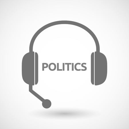 congress center: Illustration of an isolated hands free headphones with  the text POLITICS