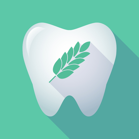 intolerancia: Illustration of a long shadow  tooth with  a wheat plant icon Vectores