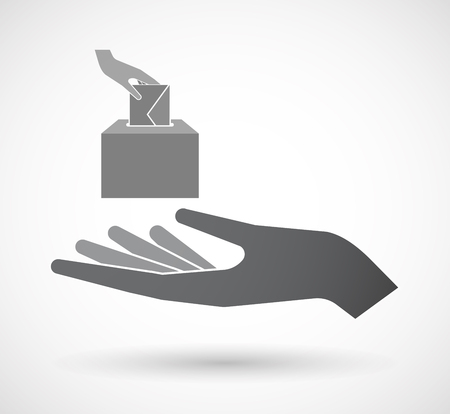 balloting: Illustration of an isolated hand giving  a hand inserting an envelope in a ballot box Illustration