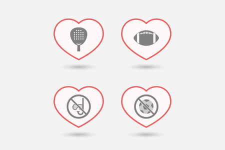 Group of line art hearts with  sports and recreation related icons