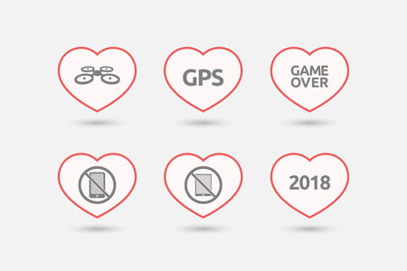 Group of line art hearts with  technology related icons