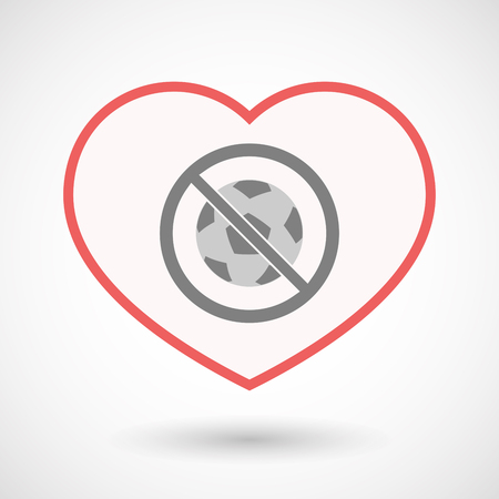 Illustration of an isolated line art heart with  a soccer ball  in a not allowed signal