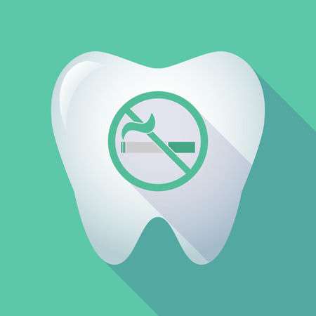 Illustration of a long shadow tooth with a no smoking sign
