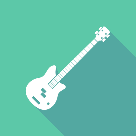 Long shadow illustration of  a four string electric bass guitar