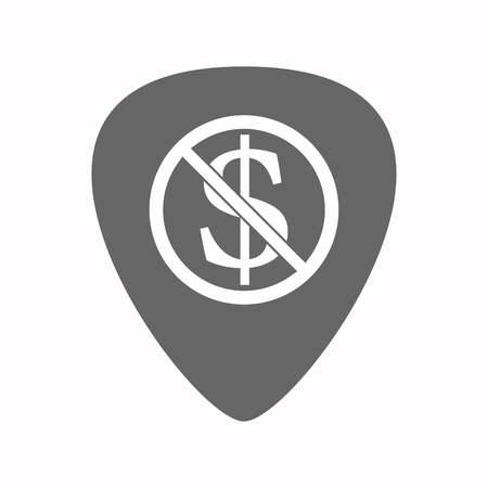 plectrum: Illustration of an isolated electric guitar plectrum with  a dollar sign  in a not allowed signal