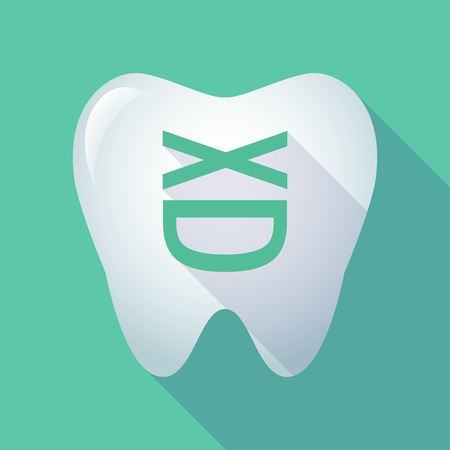 Illustration of a long shadow tooth with a laughing text face