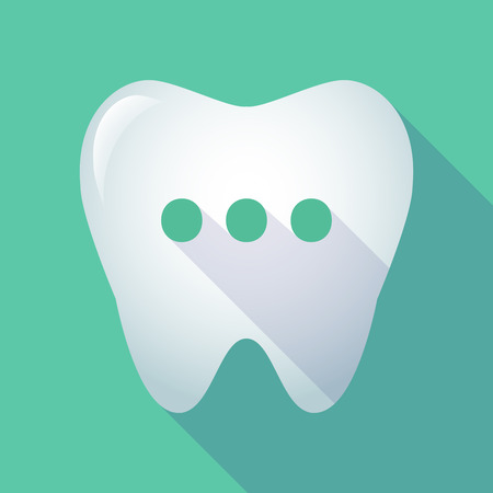 comunicacion oral: Illustration of a long shadow  tooth with  an ellipsis orthographic sign