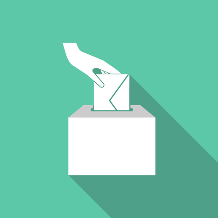 balloting: Long shadow illustration of  a hand inserting an envelope in a ballot box