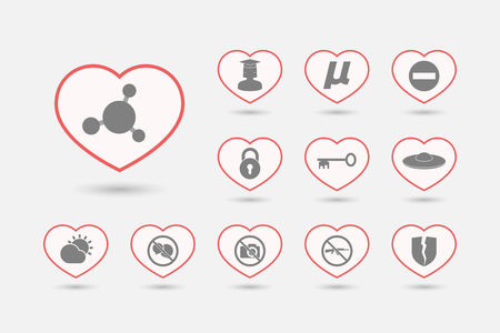 Group of line art hearts with  miscellaneous mixed icons