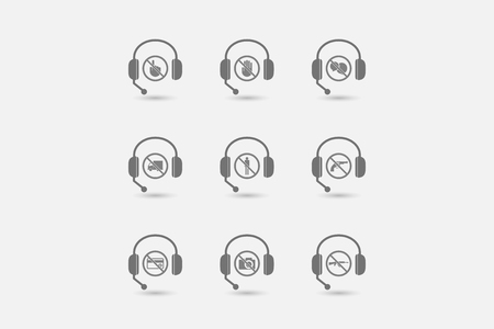 website buttons: Group of hands free headsets with  prohibition related icons