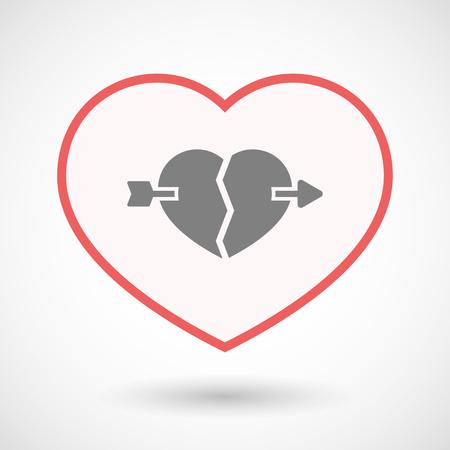 Illustration of an isolated line art heart with  a broken heart pierced by an arrow Çizim