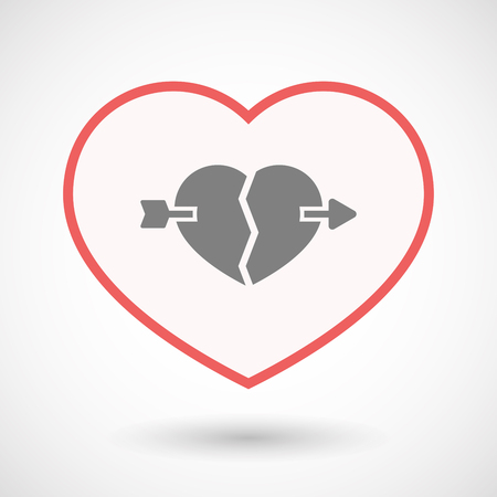 Illustration of an isolated line art heart with  a broken heart pierced by an arrow Illustration