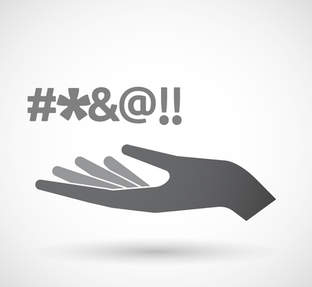 cursing: Illustration of an isolated hand giving  a cursing tex