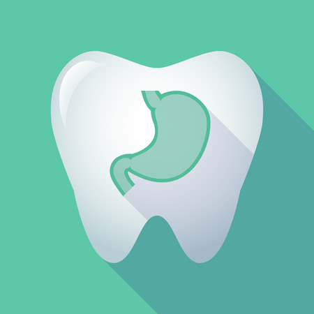 Illustration of a long shadow tooth with a healthy human stomach icon