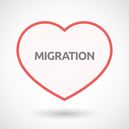 Illustration of an isolated line art heart with  the text MIGRATION