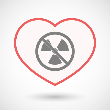 no nuclear: Illustration of an isolated line art heart with  a radioactivity sign  in a not allowed signal