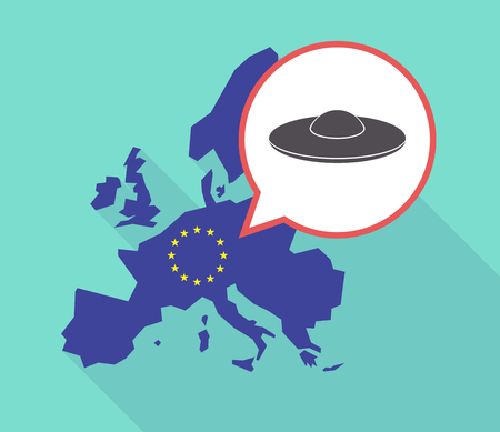 commission: Illustration of a long shadow European Union map with its flag, and a comic balloon with  a flying saucer UFO