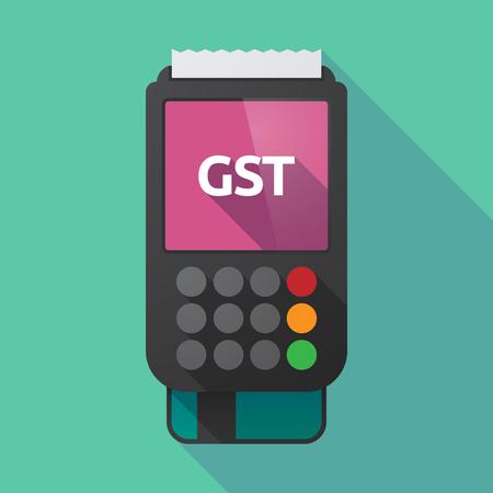Illustratie van een lange schaduwdatafoon met het goederen- en servicebedrag acroniem GST