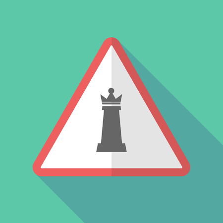 Illustration of a long shadow warning sign with a  queen   chess figure