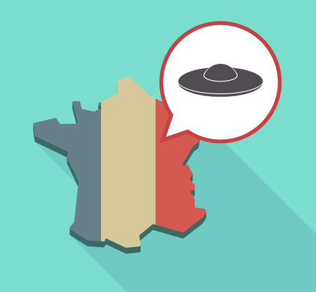 fantasy: Illustration of a long shadow France map with its flag and a comic balloon with  a flying saucer UFO