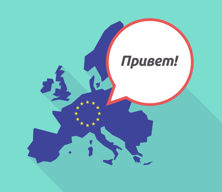 commission: Illustration of a long shadow European Union map with its flag, and a comic balloon with  the text Hello in the Russian language