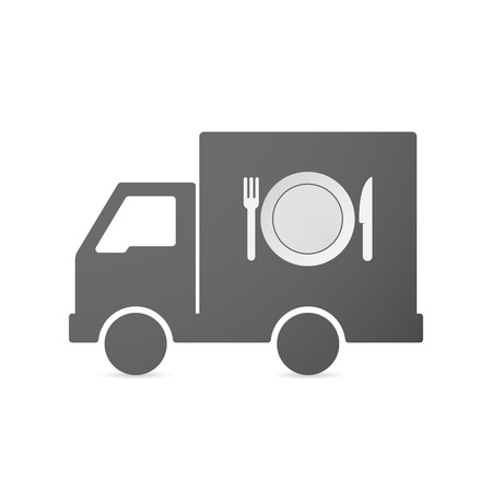 auto service: Illustration of an isolated transport truck with  a dish, knife and a fork icon
