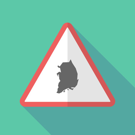 Illustration of a long shadow warning sign with  the map of South Korea Illustration
