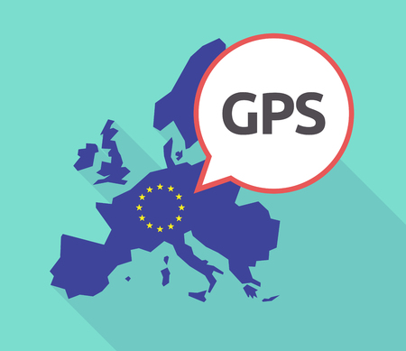 commission: Illustration of a long shadow European Union map with its flag, and a comic balloon with  the Global Positioning System acronym GPS