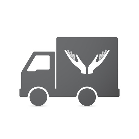 auto service: Illustration of an isolated transport truck with  two hands offering