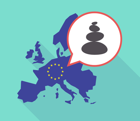 Illustration of a long shadow European Union map with its flag, and a comic balloon with  a stacked zen stones
