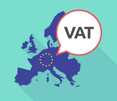 Abbildung einer langen Schattenkarte der Europäischen Union mit ihrer Flagge und eines komischen Ballons mit der Mehrwertsteuerakronym VAT