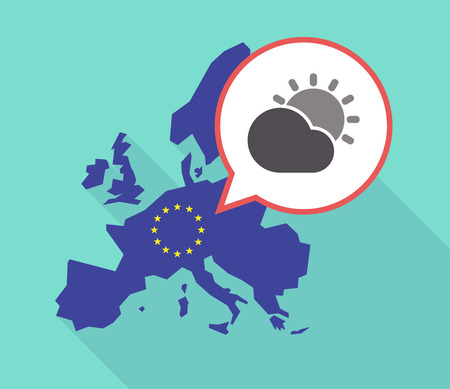 commission: Illustration of a long shadow European Union map with its flag, and a comic balloon with  the Sun shining behind a cloud