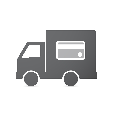 auto service: Illustration of an isolated transport truck with  a credit card Illustration
